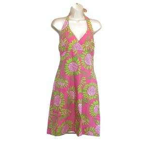Lilly Pulitzer Halter Dress Sz 8 Floral Fit Flare